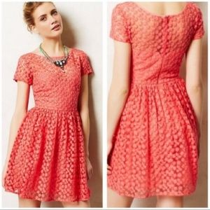 Artelier nm Coral Floral Lace Overlay Dress Anthro